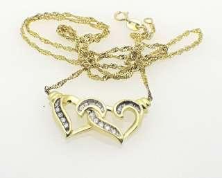 10k Yellow Gold Diamond Heart Charm Pendant Necklace