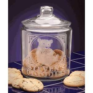 Personalized Boy Teddy Bear Glass Cookie Jar Kitchen & Dining