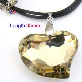 c9502 Gold Spark Heart Love Bead Crystal Glass Pendant Necklace