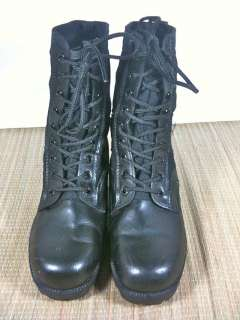 Vtg Army Military Combat Hiking Work Jump Boots Leather Canvas 6W Mens