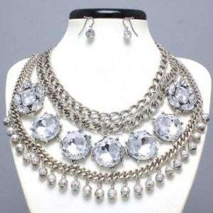 Silver with Clear Rhinestone Necklace Set