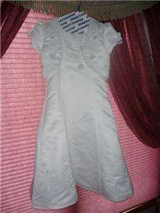 GIRLS WHITE COMMUNION DRESS PEARL BEADING ROSETS BOLERO JACKET size 7