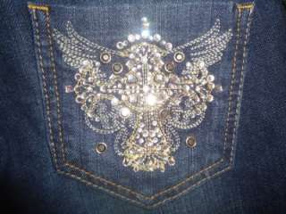 NWT WOMEN GUESS FOXY SKINNY CRYSTAL STUDDED JEANS 00 23 $108