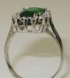 Estate 2.00ct Radiant Emerald & White Sapphire 925 Sterling Silver