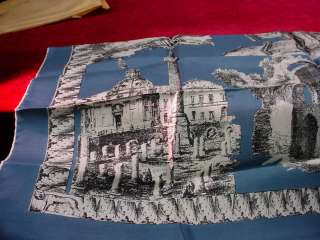 SETA PURA Italian French Blue Silk Architectural Design New 30 SCARF