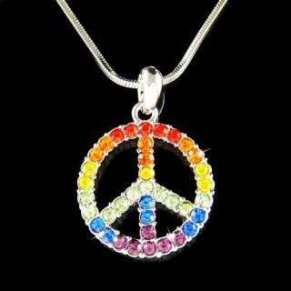 Swarovski Crystal 60s ~Rainbow PEACE sign Symbol hippie Boho