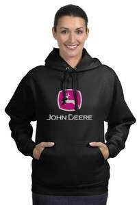 John Deere Black Hood Fleece Shirt Work Construction Outdoors