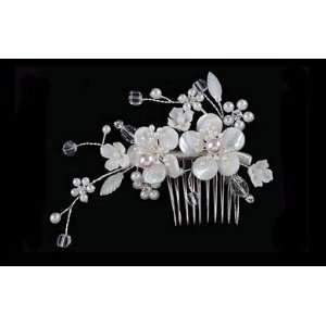 Bridal Side Comb with Large Ivory Bead Flowers S2200M Beauty