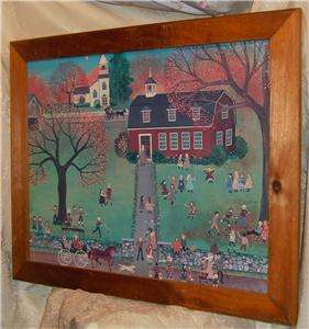 SIGNED REGI KLEIN COUNTRY SCHOOL IN WOOD FRAMED PRINT