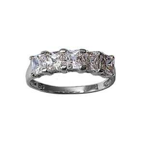 Ladies Sterling Silver Clear Cubic Zirconia wedding Band Ring Jewelry