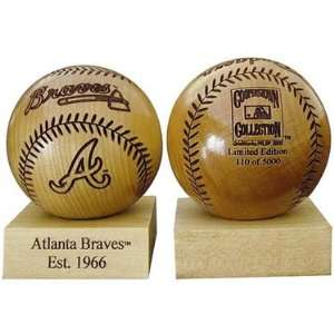 Grid Works Atlanta Braves Engraved Wood Baseball: Sports