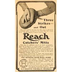 1907 Ad Antique Reach Catchers Mitts Baseball Reach