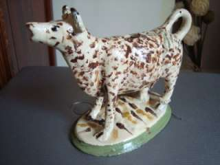 UNUSUAL STAFFS YORKSHIRE PEARLWARE COW CREAMER c1820 BIZARRELY CURIOUS