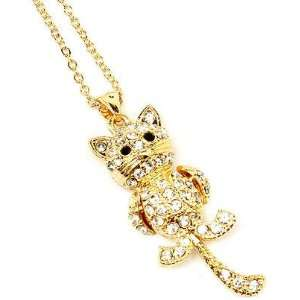 Cute Gold Tone Clear Crystal Kitty Cat Charm Pendant Chain