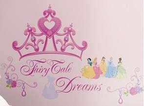 Huge Set 18 Disney Princess Crown Wall Decals Fairy Tale Dreams Pink