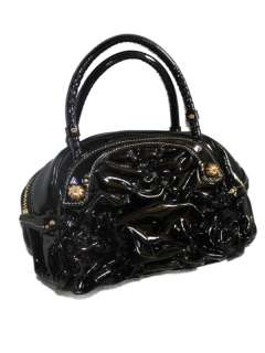 Juicy Couture Black Patent Crown Jewel Bowler Bag Purse