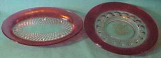 of Ruby Flash Dishes Diamond Point & Kings Crown Thumbprint