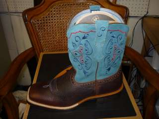 ARIAT RODEO BABY BOOTS   BRN OILED ROWDY/SEA BLUE 7