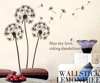 Large Love Riding Dandelion Fly Art Design Wall Decor Decal Sticker