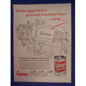Gaines dog food,dogs chasing gaines truck,50s Print Ad