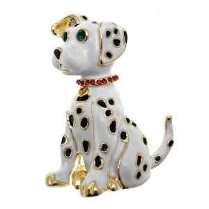 Acosta Brooches   Cute White Enamel Dalmatian Dog Brooch