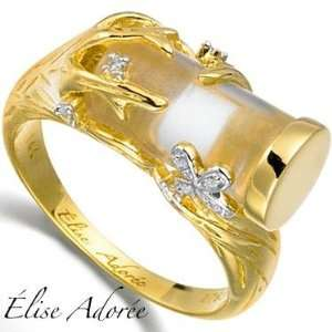 Elise Adoree   Womens Designer Ring   14K Yellow Gold 0.026ctw Diamond