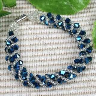 Dark Blue Faceted Crystal Rhinestone Beads Bracelet 1PC