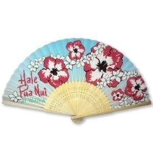 Floral Painted Bamboo Wood Oriental Silk Folding Fan