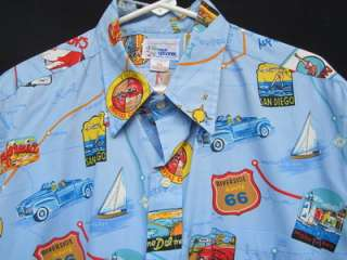 SHIRT XL X LARGE ROUTE 66 RUBYS DINER CLASSIC HOT ROD Blue