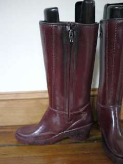 Lined Zip Up Wedge Knee High RUBBER Rain Snow BOOTS Womens 5 35