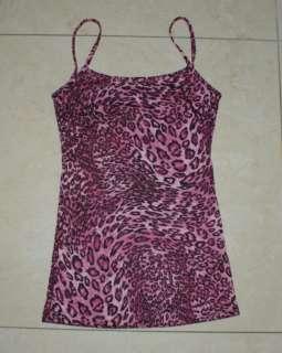 Pink leopard print tank top punk rock emo goth t223