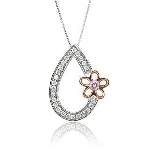 Rose Gold Pink and White Diamond Teardrop Flower Pendant (1/5 cttw