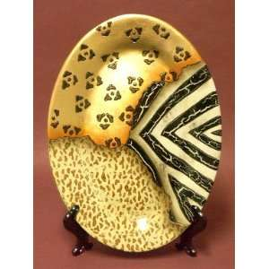 Ceramic Art Deco Animal Prints Oval Decorative Charger Plate