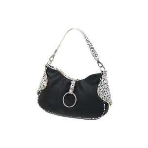 Elegance Studded Black Animal Print Handbag Crystal detailing
