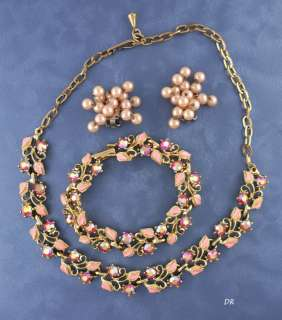 Pink Rhinestone Enameled Necklace Bracelet Earrings