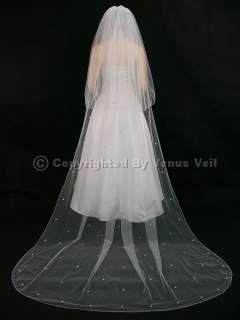 2T White Cathedral Bridal Wedding 120 Rhinestone Veil