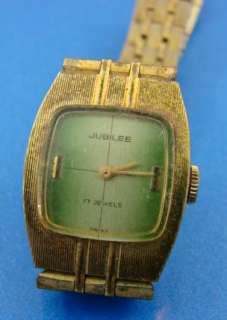 Jubilee 17 Jewel Mens Watch+Band Gold Case Green Face
