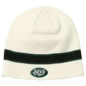 New York Jets NFL White Stripe Knit Beanie Hat Sports