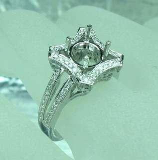 SOLID 14k WHITE GOLD DIAMOND ENGAGEMENT SEMI MOUNT RING
