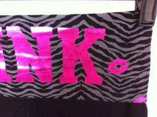 PINK yoga pants black with zebra print design XL NEW victoria secret