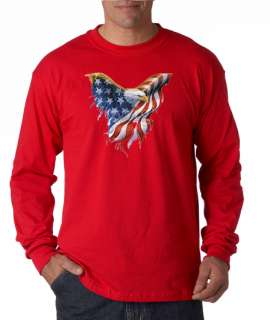 Freedom Eagle USA American Flag Long Sleeve Tee Shirt