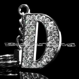 Silver Plated Metal Bling Rhinestone Keychain Letter D