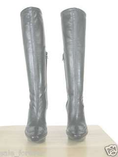 Celine Knee High Double Platform Lthr Boots w/Logo 40
