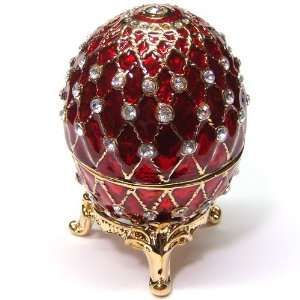 Royal RED Egg Bejeweled Trinket Box with Stand Everything