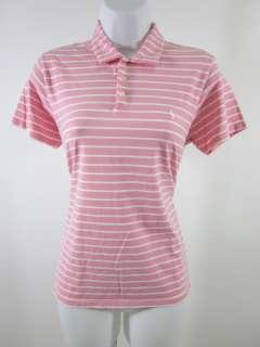 RALPH LAUREN SPORT Pink White Striped Polo Shirt M