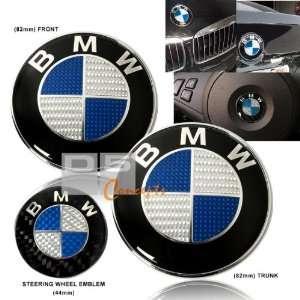 92 BMW E30 Hood/Trunk/Steering Wheel Emblem   Blue/Real Carbon Fiber