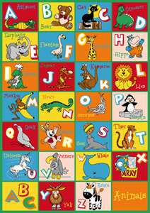 ALPHABET ANIMAL DESIGN5X7 AREA RUG, CARPET, PLAY MAT GREAT GIFT IDEA