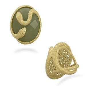 Snake Ring 18K Gold Over Sterling Green Aventurine Stone