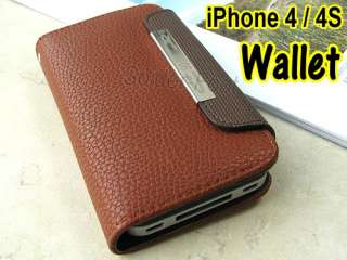 Leather Wallet Case Ultra Slim Folio Cover for iPhone 4 4s Brown Book