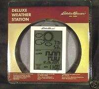 EDDIE BAUER DELUX WEATHER STATION WHITE ALARM CLOCK NIB